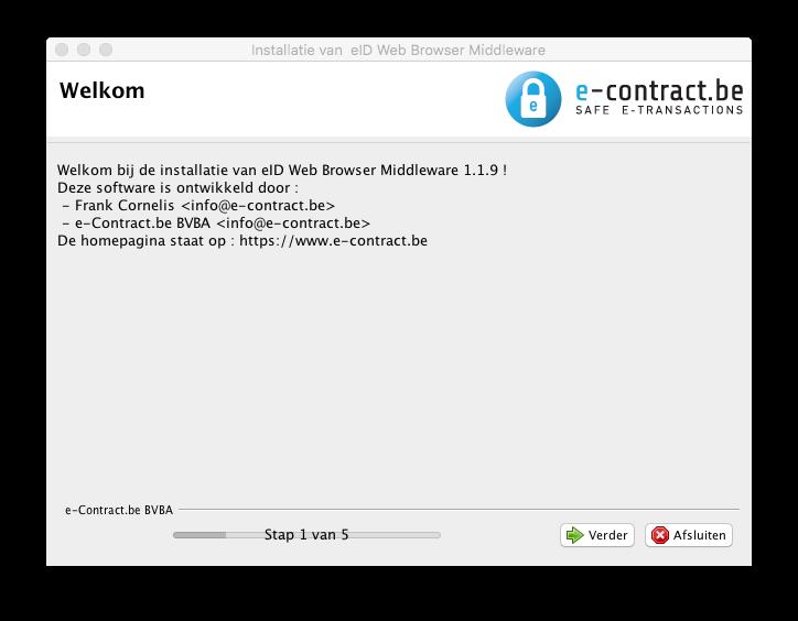 Het installer introductie-scherm