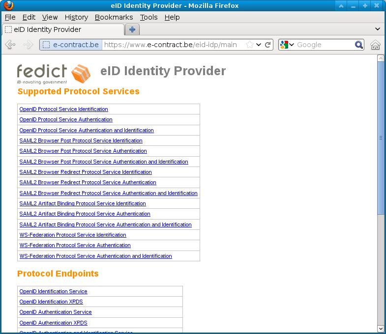 eID IdP authentication; eID IdP supported protocols ...